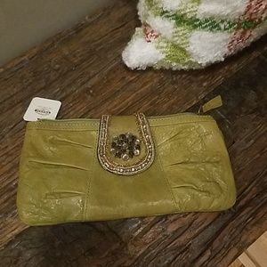 Fossil Leather Green Jeweled Tab Clutch NWT